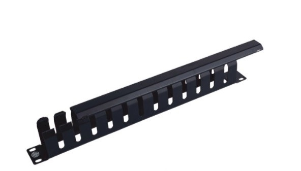 12 Ports 1U Horizontal Cable Manager Black 19 Rack Cable Management  With Cover